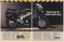 1989 Yamaha FZR600 Motorcycle Don't Say We Didn't Warn You 2-Page Print Ad