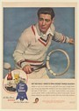 1945 Pabst Blue Ribbon Beer Man Play Tennis Hit Ball with One-String Racket Ad