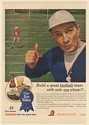 1945 Pabst Blue Ribbon Beer Coach Build Great Football Team Only One Player Ad