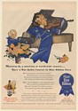 1944 Pabst Blue Ribbon Beer Monsieur B Musician Ribbon People War Concert Ad