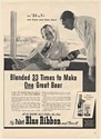 1940 Pabst Blue Ribbon Beer Blended 33 to 1 Black Man Serving Boss Print Ad