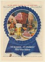 1946 Pabst Blue Ribbon Beer Served with Carved Ham Dinner Print Ad