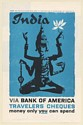 1959 India Hindu Goddess art Bank of America Travelers Cheques Print Ad