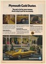 1973 Plymouth Gold Duster You Get a Lot for Your Money Family Gathering Print Ad