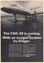 1973 YAK-40 Aircraft is Coming with Oxygen System by Drager Print Ad