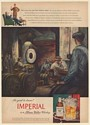 1947 Imperial Whiskey Weighing Barrels in Rackhouse Ben Stahl art Print Ad