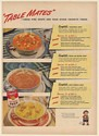 1947 Campbell's Soup Table Mates Vegetable Bean with Bacon Beef Noodle Print Ad