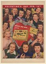 1947 Whitman's Sampler Chocolates Valentine's Day Heads You Win Women Print Ad