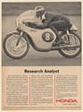 1966 Ralph Bryans Grand Prix Champion Honda Motorcycle Research Analyst Print Ad