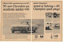 1966 Chevy Tested at Sebring Accelerate Quicker Champion Spark Plugs 2-Page Ad