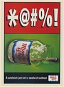 1999 Kraft Miracle Whip Empty Jar *@#%! A Sandwich Just Isn't Sandwich Print Ad