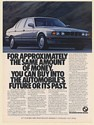 1987 BMW 735i Buy Into Automobile's Future or Past Print Ad