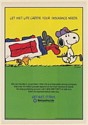 1987 Peanuts Snoopy Woodstock Golfer Let Met Life Caddie Your Insurance Needs Ad