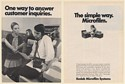 1970 Kodak Microfilm System One Way to Answer Customer Inquiries 2-Page Print Ad