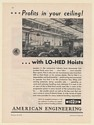 1931 American Engineering Lo-Hed Hoists in Automobile Plant Print Ad