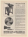 1931 Hunter Saw and Machine Co No 6 High Speed Metal Cut-Off Saw Print Ad