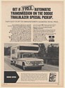 1971 Dodge Trailblazer Special Pickup Truck D200 with Camper Print Ad