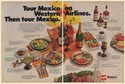 1971 Western Airlines Tour Mexico Fiesta Flight First Class Food 2-Page Print Ad
