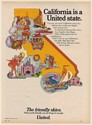 1971 United Airlines California is a United State The Friendly Skies Print Ad