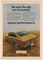 1971 Datsun 1200 Coupe We Took the Ugly Out of Economy Print Ad