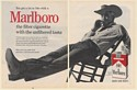 1961 Marlboro Cowboy Man Smoking Cigarette Relaxing in Chair 2-Page Print Ad