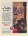 1943 United States Steel Military Task-Force Buildings on Ships Everett Henry Ad