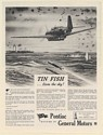 1943 Torpedo Airplane Attacks Ship Tin Fish from the Sky Pontiac GM Print Ad