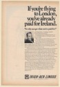 1971 Bing Crosby Irish-Aer Lingus Airlines Flying to London Ireland Print Ad