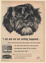 1960 Black Dog Ate But Nothing Happened Surechamp Dog Food General Mills Ad