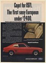 1971 Mercury Capri Sport Coupe The First Sexy European Under $2400 Print Ad