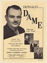 1950 Opera Lyric Tenor Donald Dame Photo Booking Print Ad