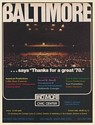 1979 Baltimore Civic Center Says Thanks for a Great '78 Trade Print Ad