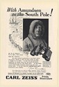 1925 Carl Zeiss Prism Binoculars with Amundsen to the South Pole Print Ad