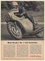 1966 Jim Redman Motorcycle Racing Champion Honda No 1 Lab Technician Print Ad