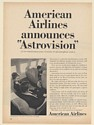 1964 American Airlines Announces Astrovision Movie TV Set on Airplane Print Ad