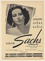 1948 Evelyn Sachs Opera Contralto Photo Booking Print Ad