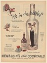 1947 Heublein's Club Cocktails It's in the Bottle Says Professor Hugh Bline Ad