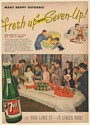 1947 7Up Fresh Up with Seven-Up Children Birthday Party Print Ad