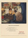 1947 Siamese Cat He's Well Educated Calvert Reserve Whiskey Tom Lovell art Ad