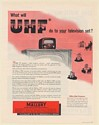 1952 What Will UHF Do To Your Television Set Mallory UHF Converter Print Ad
