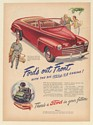 1946 Ford Convertible Out Front with Big 100 hp V-8 Engine Print Ad