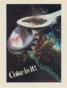 1985 Coke is It Opening Bottle of Coca-Cola Print Ad