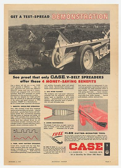 1960 Case V-Belt Spreader Money-Saving Benefits Ad
