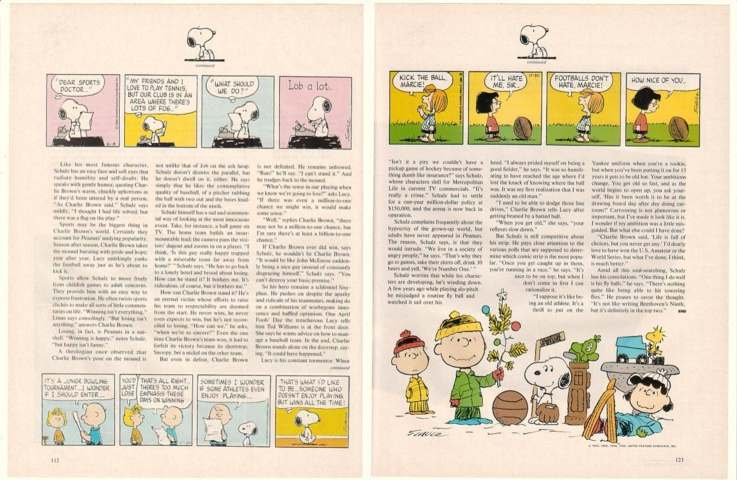 1985 Charles Schulz Peanuts Sports 6-Page Photo Article