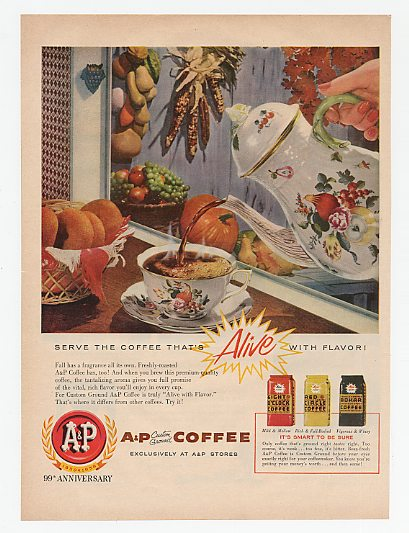 1958 A&P Coffee Alive with Flavor Autumn Cup Pot Ad