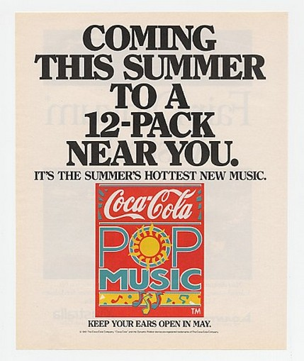 1991 Coke Coca-Cola Pop Music Coming This Summer Ad