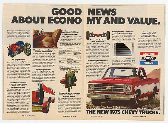 '74 1975 Chevy Pickup Truck Economy & Value Dbl-Page Ad