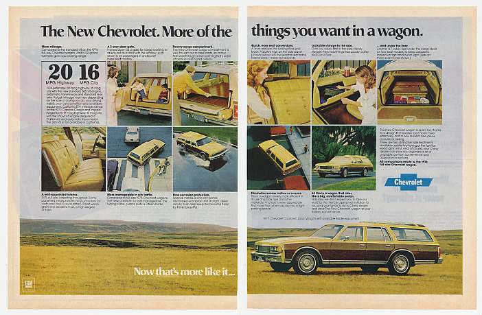 '76 1977 Chevy Caprice Classic Estate Wagon 2-Page Ad