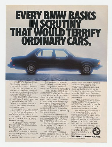1985 BMW 735i Basks in Scrutiny Ad