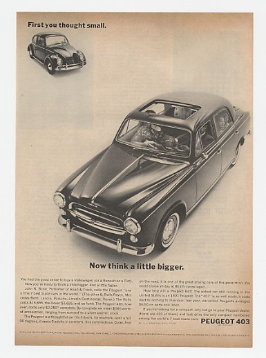 1961 Peugeot 403 Think A Little Bigger Ad